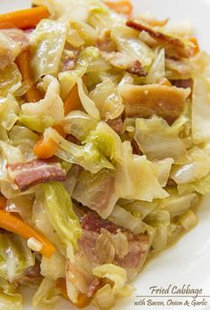 Fried Cabbage with Bacon, Onion & Garlic | www.cakescottage.com | #recipes #cabbage #bacon