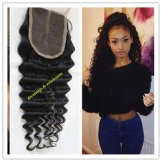 Top Qulaity Free/middle/three Part Brazilian human Hair 1# deep wave Silk Base Lace Closure with Baby Hair
