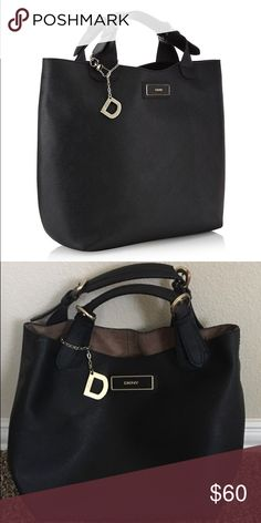 DKNY saffiano leather bag Black leather, very good condition DKNY Bags Totes