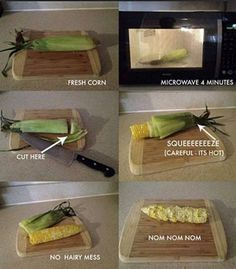This is SO easy. I (JN) did it putting two ears in the microwave for 6 minutes. I'll never do fresh corn any other way again!