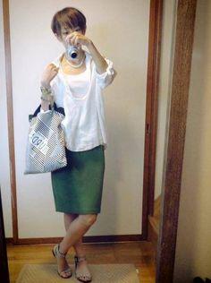 8月14日 グリーンのスカート秋色パターン実験とモコーデ読者との再会 Shirt Outfit, Green, Skirts, Outfits, Style, Fashion, Outfit, Moda, La Mode