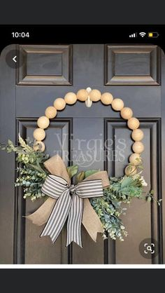 Your place to buy and sell all things handmade - Excited to share this item from my shop: Wood Bead Wreath, Farmhouse Wreath, Eucalyptus Hoop - Wood Bead Garland, Beaded Garland, Wreath Crafts, Diy Wreath, Diy Spring Wreath, Winter Wreaths, Holiday Wreaths, Tulle Wreath, Couronne Diy
