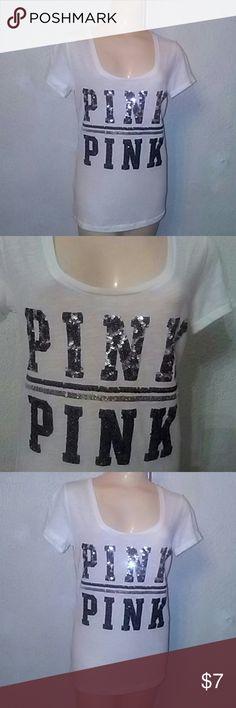 Pink Victoria's Secret. White T shirt Pink Victoria's. Secret.Excellent condion.w.Sparkle in the front.SZ M.V in the front . PINK Victoria's Secret Tops Tunics