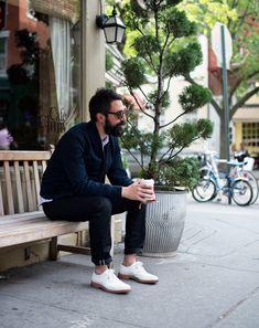Aaron Levine Menswear Designer, Club Monaco Aaron's Prize Possession Watch from his father Club Monaco, Street Style Boy, White Dress Shoes, Men Tumblr, Most Stylish Men, Mens Fashion Week, Men's Fashion, Fasion, Street Fashion