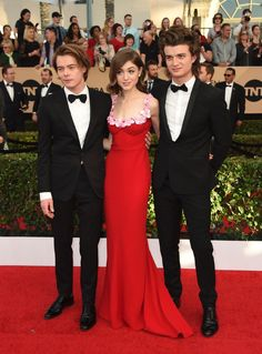 "Charlie Heaton, from left, Natalia Dyer, and Joe Keery, all star on the hit Netflix series ""Stranger Things,"" arrive together to the 23rd annual Screen Actors Guild Awards."