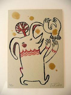gocco print by benconservato on etsy.com    rabbit, bird, hand-painted