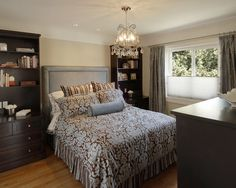Small Master Bedroom Design. Love the hutches rather than night stand... that could create space elsewhere in our bedroom and it brings the eyes up and makes the room look larger.