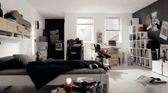 How to Decorate A Boys Bedroom Ideas: Entrancing Ideas How To Decorate A Boys Bedroom Punk In Black And White Color Scheme With Some Music Instrument And Grunge Punk Bands Posters Also White Stair Shaped Bookcase With Small Study Desk ~ workdon.com Bedroom Design Inspiration
