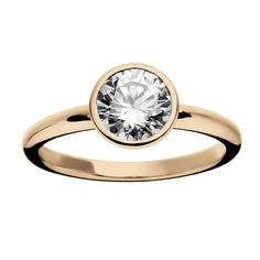 Diamond Rose Gold Ring with Bezel Setting by ReneSim | From a unique collection of vintage engagement rings at https://www.1stdibs.com/jewelry/rings/engagement-rings/