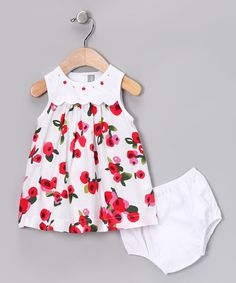 Take a look at this Red & White Floral Dante Dress & Diaper Cover - Infant by Alouette on #zulily today!