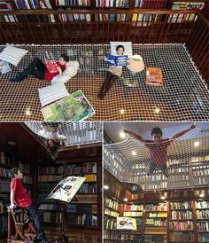 Net hammock in home library! Love this idea!