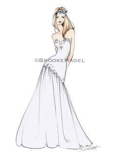 Penny Boho Bridal Fashion Illustration by by BrooklitBride