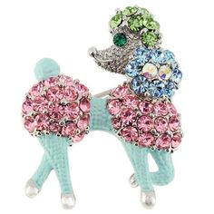 This fancy poodle brooch is studded allover with various colored created stones. Baby blue enamel highlights the silvertone body of this animal-themed pin for a stylish finishing touch.