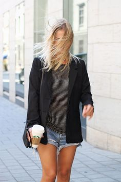 Stripes, blazer, cutoffs.