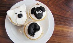 Polar bear, sheep and cat cupcakes