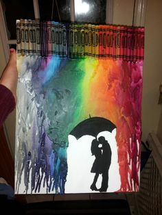 Saw this DIY, thought I would try it out as a gift for my sister. Worked out pretty well. Easier to glue the crayons onto the canvas. Cover the silhouette really well, or you'll have to do a lot of touch ups with paint later or pick melted crayon off.