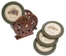 """Perfect for Joe's birthday! This great looking fly reel holder keeps four coasters on hand, while maintaining your Lake House or fishing cabin decor.5"""" x 3"""" x 5.75"""""""