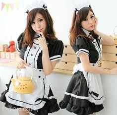 Sexy Women Cute Ruffle Lolita Maid Cosplay Halloween Costume Outfit Fancy Dress | eBay