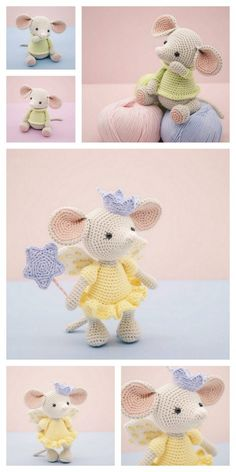 Educational and interesting ideas about amigurumi, crochet tutorials are here. Crochet Amigurumi Free Patterns, Crochet Animal Patterns, Crochet Doll Pattern, Stuffed Animal Patterns, Crochet Animals, Crochet Dolls, Crochet Stuffed Animals, Crochet Rabbit, Crochet Mouse