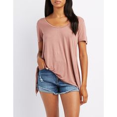 Charlotte Russe Lace-Up Back Tee ($12) ❤ liked on Polyvore featuring tops, t-shirts, mauve, scoop neck t shirt, lace front top, jersey knit tops, charlotte russe and laced up top