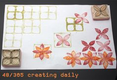 """Project """"365 - creating daily"""" day 48: two matching flower stamps Anke Humpert 2/2014 #365creatingdaily"""