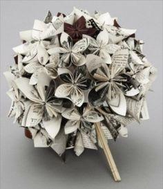 Origami bloemen bruidsboeket