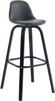 Clp Barkruk AVIKA  yiting met rugleuning + voetensteun, tegenstoel,volledig bekleed met kunstlederen bekleding, - zwart, kleur onderstel : zwart