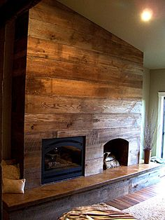 a lovely rustic fireplace wall