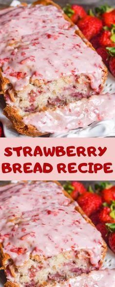 STRAWBERRY BREAD RECIPE by Easy Recipes, Hâve fresh gârden strâwberrïes? try thïs cleân strâwberry breâd wïth melt-ïn-your-mouth strâwberry glâze. Cherry Bread, Fruit Bread, Dessert Bread, Köstliche Desserts, Delicious Desserts, Yummy Food, Strawberry Bread Recipes, Strawberry Glaze, Strawberry Desserts