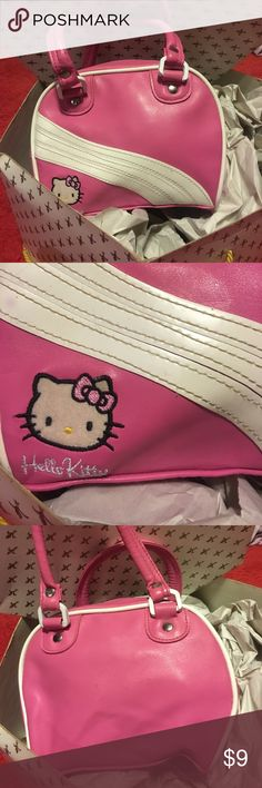 """Hello Kitty PINK Mini Bowling Bag Hello Kitty PINK Mini Bowling Bag with black stands on bottom 7.5""""Lx6""""H Clean Bag. Cute with Hello Kitty or Pink on other side. Smoke Free Home Hello Kitty Bags Mini Bags"""