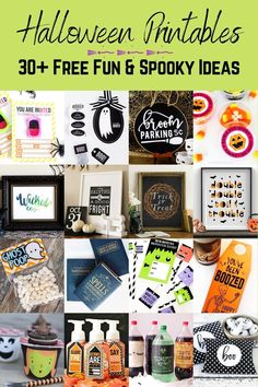 Halloween is right around the corner – for some instant decor, download one of these 30+ free Halloween printables and get creative. Halloween Candy Bar, Halloween Potion Bottles, Halloween Bingo, Halloween Garland, Halloween Party Favors, Halloween Stickers, Diy Halloween Decorations, Easy Halloween, Holidays Halloween