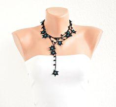 Crochet Necklace Teal and Black Stars Handmade by ReddApple, #ReddApple #Designscope