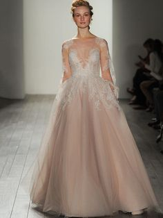 """""""Winnie"""" gown in rose (also available in ivory and chardonnay colors) by Hayley Paige Fall 2017: Shimmering, Ethereal Wedding Dresses   TheKnot.com"""