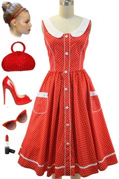 50s Style RED & WHITE POLKA DOT Pinup SunDress with PETER PAN COLLAR & Pockets #privatemanufacturer #Sundress #Casual