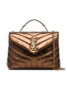7d6cbadbb2 Saint Laurent Metallic Bronze Lou Lou Quilted Leather Shoulder Bag -  Farfetch