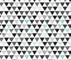 Geometric aztec triangle blue modern patterns fabric by littlesmilemakers on Spoonflower - custom fabric