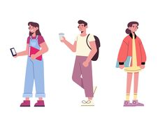 People going university designed by Jonathan Larenas. Connect with them on Dribbble; the global community for designers and creative professionals. Flat Design Illustration, Character Illustration, Illustration Art, Website Illustration, Coffee Illustration, Character Sketches, Web Design, Site Design, Modern Design