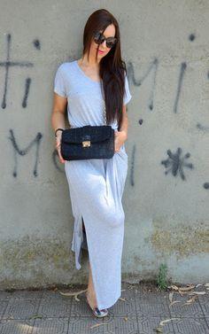 mundo de caty: Long, grey-melange dress outfit