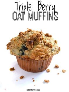 These big, moist, and fluffy Triple Berry Oat Muffins are a real treat for breakfast and boast the goodness of rolled oats. Step by step photos. Muffin Recipes, Baking Recipes, Dessert Recipes, Desserts, Breakfast Recipes, Frugal Recipes, Flour Recipes, Sweet Breakfast, Bread Recipes