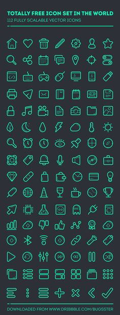112 Fully scalable vector Icons - Totally Free Icon Set in the World Icon Design, Web Design, Flat Design, Graphic Design, Logo Application, Vector Icons, Vector Free, Free Icon Fonts, Ios Icon