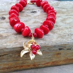Bold  Red Coral Bracelet Red Chunky Bracelet Golden by lyrisgems