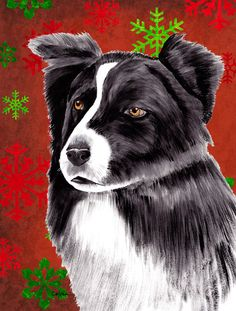 Border Collie Red and Green Snowflakes Holiday Christmas House Vertical Flag