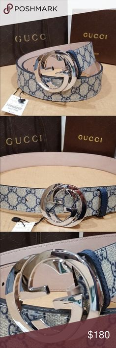 New Beige/Blue Monogram Gucci belt New Authentic Gucci Biege/Blue Monogram belt with interlocking G  This Beautiful belt has a unique style to it and can literally be worn with any outfit.  DESCRIPTION  Style: 411924 KGDMN  •Made in Italy   •Size: Please note we have few sizes available,  please comment below with your requested size and we will send it accordingly)   •Belt will be shipped with original box, dust bag, tags and shopping bag!   Shipping: We ship immediately, within 24hrs of…