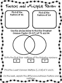 Multiples And Factors TChart  TyxgbAjThis Student And The