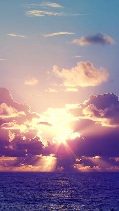 Ocean Sunset Rays Clouds iPhone 5 Wallpaper.jpg 640×1,136 pixels
