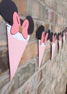 Items similar to NEW Minnie Mouse Bow Pennant Banner~Mickey Mouse~Party Decoration~Pink Party~Gold Glitter~Minnie's Bowtique Party~Birthday Decorations on Etsy NEW Minnie Mouse Bow Pennant BannerMickey by Skrapologie on Etsy Birthday Party Tables, 2nd Birthday Parties, Baby Birthday, Birthday Ideas, Minnie Mouse Theme, Minnie Mouse Baby Shower, Minnie Mouse Pinata, Decoration Minnie, Birthday Decorations