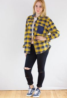 Vintage 90's Yellow Check Flannel Shirt