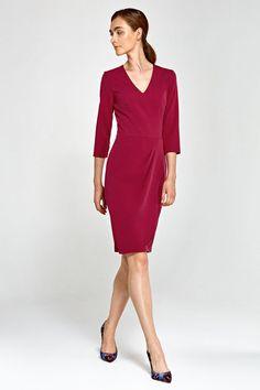 8627e2bb66605 Robe femme bordeaux elegante chic manches 4 5 decollete V effet drape NIFE  S91