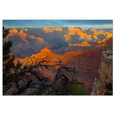 The Grand Canyon at sunset from Mather Point on th