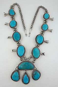 BIG-30-Sterling-Silver-Turquoise-Stone-Squash-Blossom-220G-HUGE-Necklace